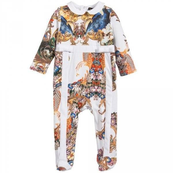 ROBERTO CAVALLI Girls Baroque Floral Cotton Jersey Babygrow