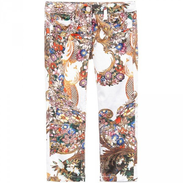 Roberto Cavalli Girls Baroque Floral Print Cropeed Satin Jeans