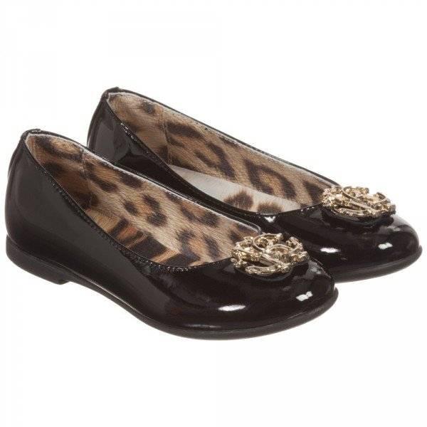 ROBERTO CAVALLI Girls Black Patent Leather Ballerina Shoes