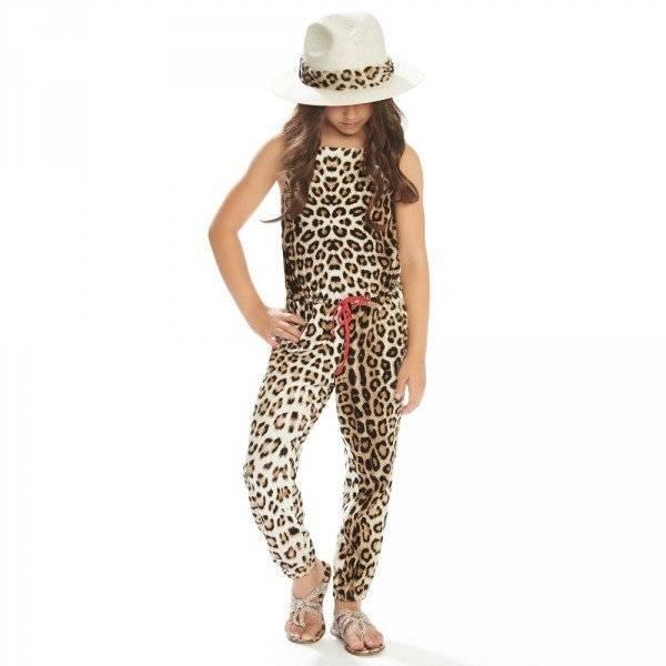 ROBERTO CAVALLI Girls Cotton Jersey Leopard Print Jumpsuit