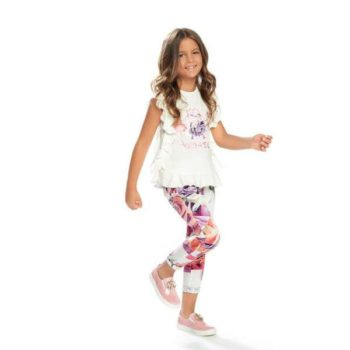 ROBERTO CAVALLI Girls Pink Floral Print Tracksuit Trousers