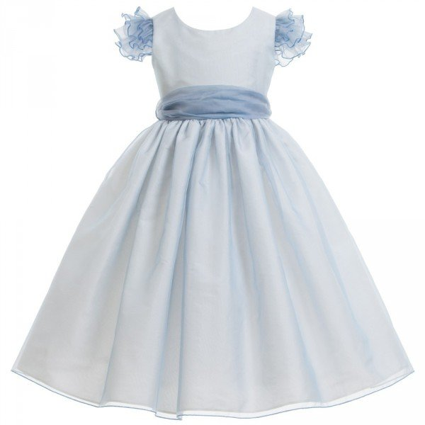 nicki macfarlane blue silk organza francesca dress with silk sash