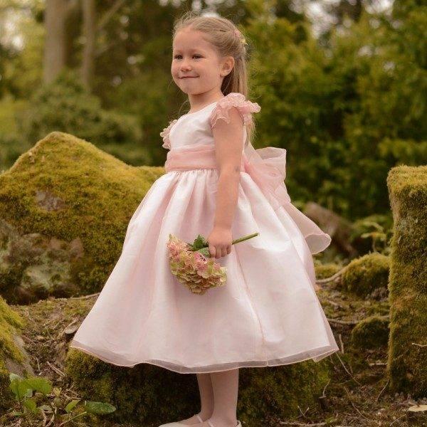 NICKI MACFARLANE Pink Silk Organza 'Francesca' Dress