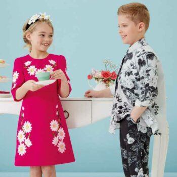 DOLCE & GABBANA Boys Grey Floral Cotton Shirt