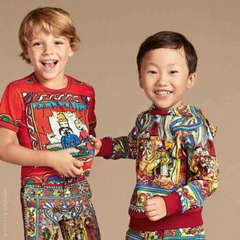 DOLCE & GABBANA Boys Red 'Teatrino Cinesi' Print T-Shirt