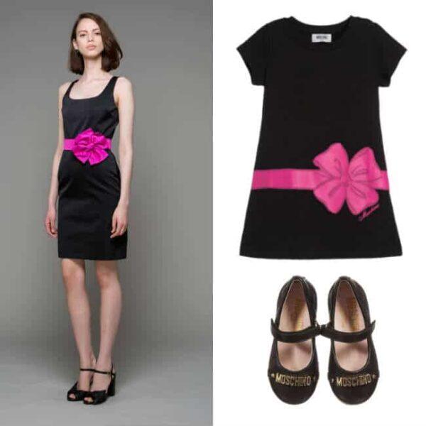 MOSCHINO KID-TEEN Black 'Bow' Print Cotton Jersey Dress