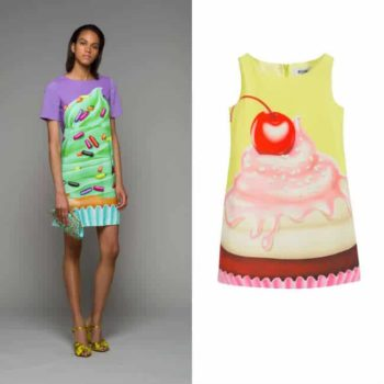 MOSCHINO KID-TEEN Green Satin 'Cupcake' Print Dress