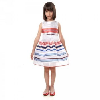 SIMONETTA Red, White & Blue Striped Organza Dress