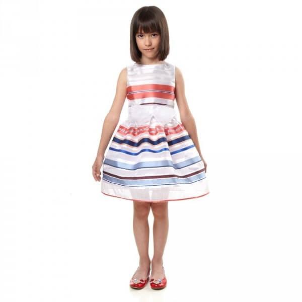 SIMONETTA Red, White & Blue Striped Organza Dress