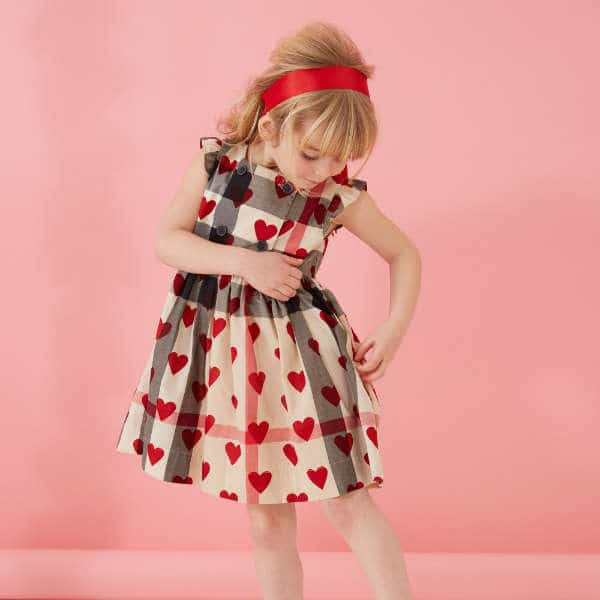 BURBERRY Girls Beige Cotton Checked Dress with Hearts ...