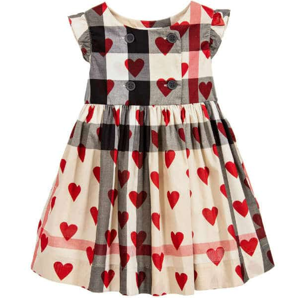 BURBERRY Beige Cotton Checked Dress with Hearts