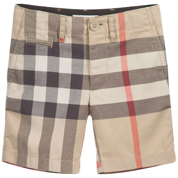 BURBERRY Boys Beige Checked Cotton Chino Shorts