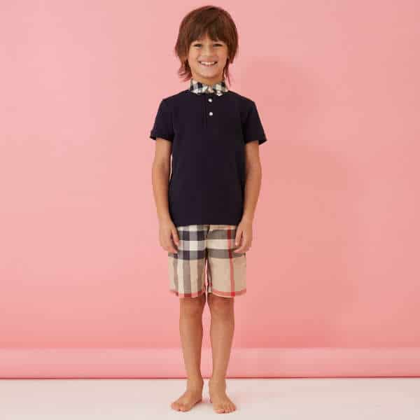 027b048324b4e BURBERRY Boys Navy Blue Polo Shirt   Checked Shorts