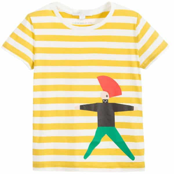 BURBERRY Boys Yellow Striped 'Punk' T-Shirt