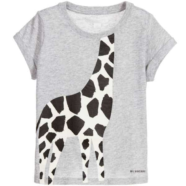 BURBERRY Girls Grey & Black Logo Giraffe T-Shirt