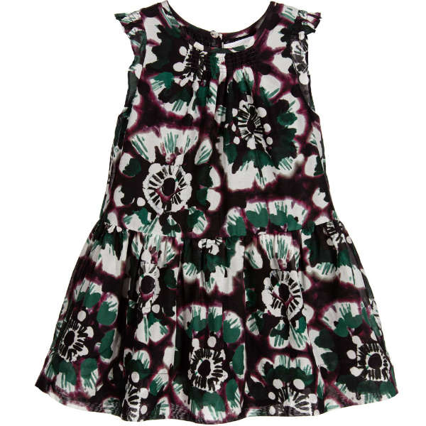 BURBERRY Girls Green & Claret Red Floral Cotton & Silk Dress
