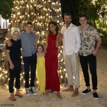 Beckham Family New Years 2017 Harper Chloe Yellow Layered Maxi Sun Dress