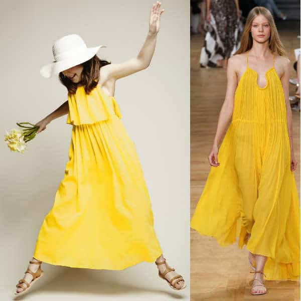 CHLOÉ GIRLS MINI ME YELLOW COTTON LAYERED MAXI DRESS