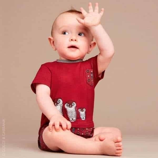 DOLCE & GABBANA Baby Boys Red & Grey Owl Shortie