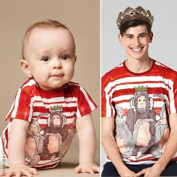 DOLCE & GABBANA Baby Boys Red & White Stripe Monkey T-Shirt