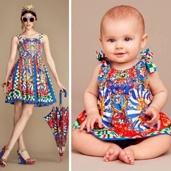 DOLCE & GABBANA Baby Girls 'Carretto Siciliano' Cotton Dress