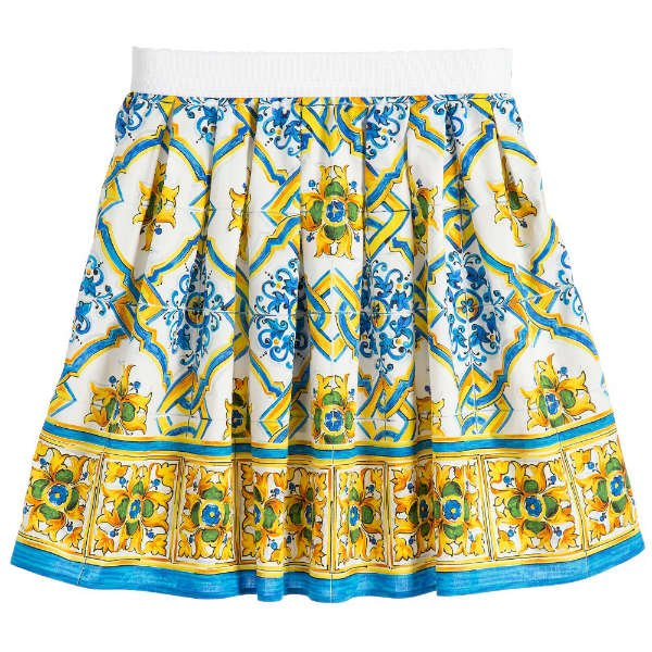 DOLCE & GABBANA Girls Mini Me Blue & Yellow 'Majolica' Print Skirt