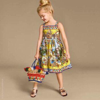 DOLCE & GABBANA Blue & Yellow 'Taormina' Print Poplin Dress