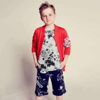 DOLCE & GABBANA Boys Grey Floral Cotton Jersey T-Shirt