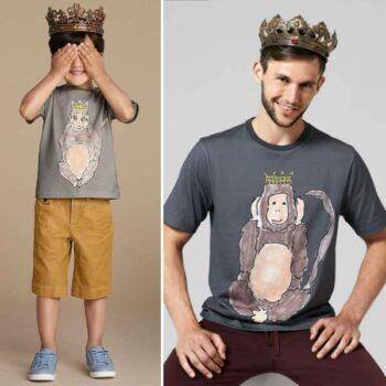 DOLCE & GABBANA Boys Mini Me Grey 'See No Evil' Monkey T-Shirt