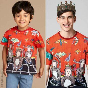 DOLCE & GABBANA Boys Mini Me Red Monkey T-Shirt