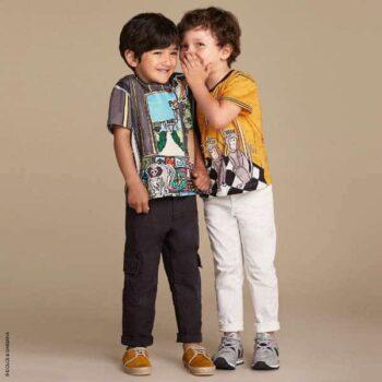 DOLCE & GABBANA Boys Purple & Orange Three Wise Monkeys T-Shirt