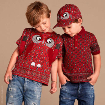 DOLCE & GABBANA Boys Red Owl Print T-Shirt