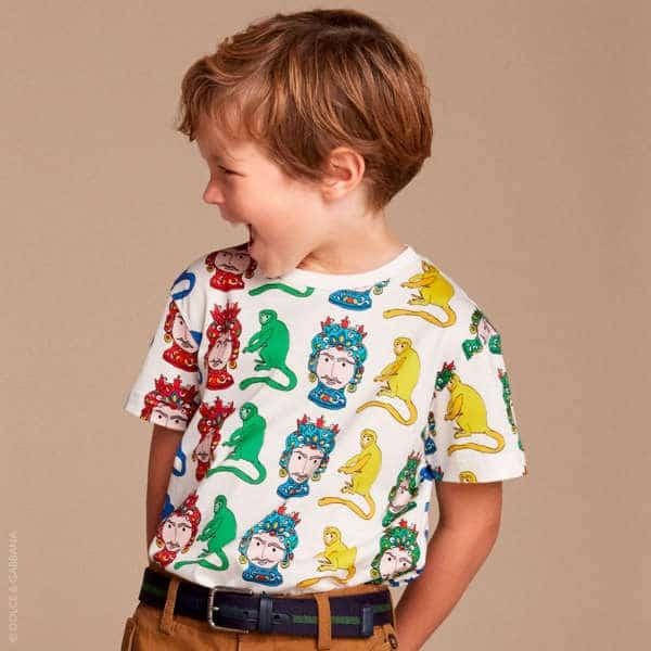 DOLCE & GABBANA Boys White Monkey Colour Block T-Shirt