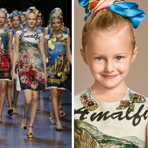 DOLCE & GABBANA Girls Mini Me Amalfi Silk Jeweled Dress
