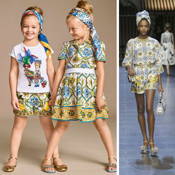DOLCE & GABBANA Girls Mini Me Blue & Yellow 'Majolica' Print Skirt
