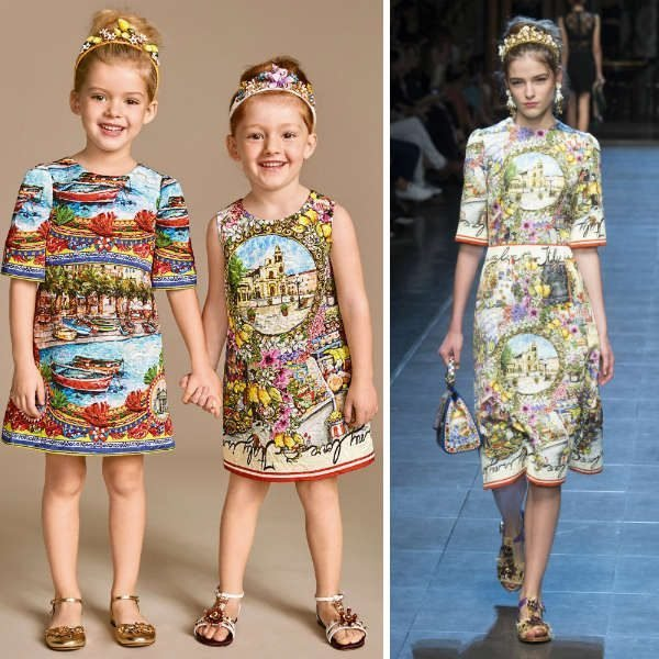 DOLCE & GABBANA Girls Mini Me Brocade 'Italy is My Love' Shift Dress