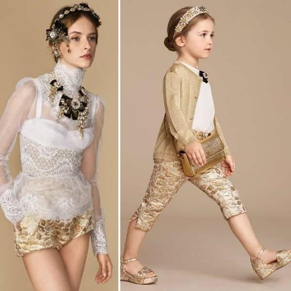 DOLCE & GABBANA Girls Mini Me Ivory Lace & Jewel Bow Tunic Top