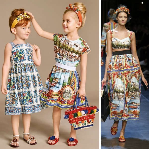DOLCE & GABBANA Girls Mini Me Red & Blue 'Mondello' Print Outfit