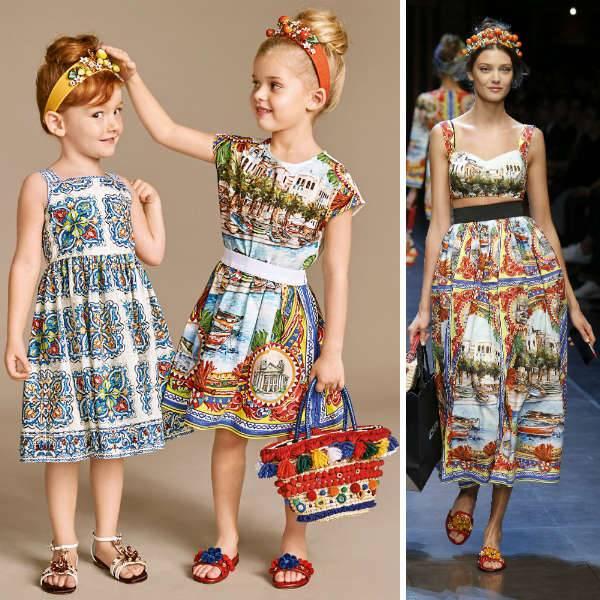 DOLCE & GABBANA Girls Mini Me Red & Blue 'Mondello' Print Outfit