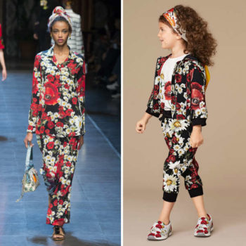 DOLCE & GABBANA Girls mini me Black Tracksuit with Poppy Print
