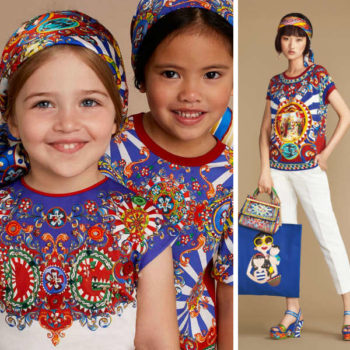 DOLCE & GABBANA Girls mini me Blue 'Carretto Siciliano' Print outfit
