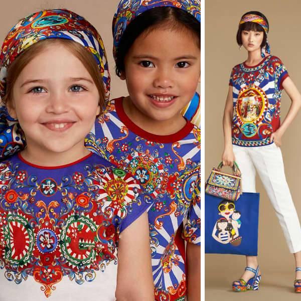 DOLCE & GABBANA Girls mini me Blue 'Carretto Siciliano' Print outfit