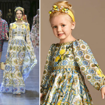 DOLCE & GABBANA Girls Mini Me Yellow Ornate Silk Majolica Dress