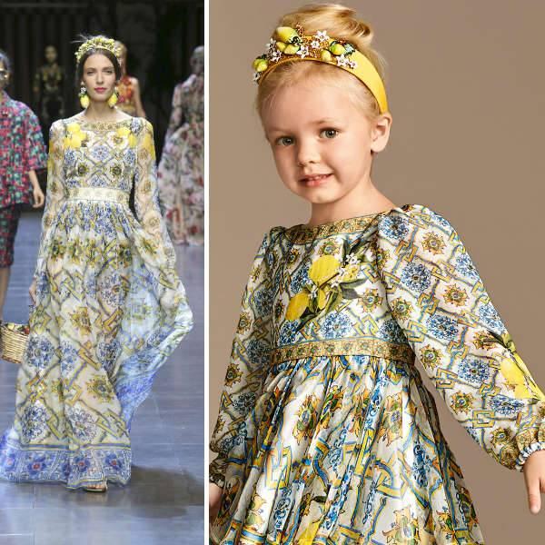 DOLCE & GABBANA Girls Mini Me Yellow Ornate Silk Majolica Dress