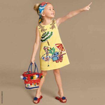 DOLCE GABBANA Yellow Hand-Embroidered Crpe Shift Dress