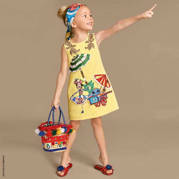 722f880e1 DOLCE   GABBANA Girls Mini Me Yellow Hand-Embroidered Crêpe Shift ...