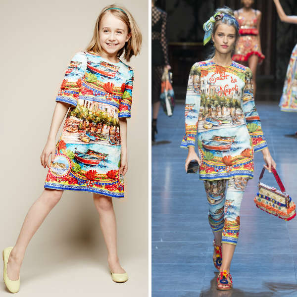 DOLCE & GABBANA girls mini me Blue Brocade 'Mondello' Print Dress
