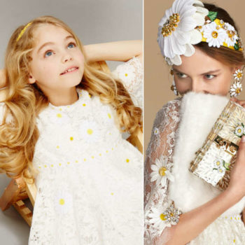 DOLCE & GABBANA girls mini me White & Yellow Lace Daisy Dress