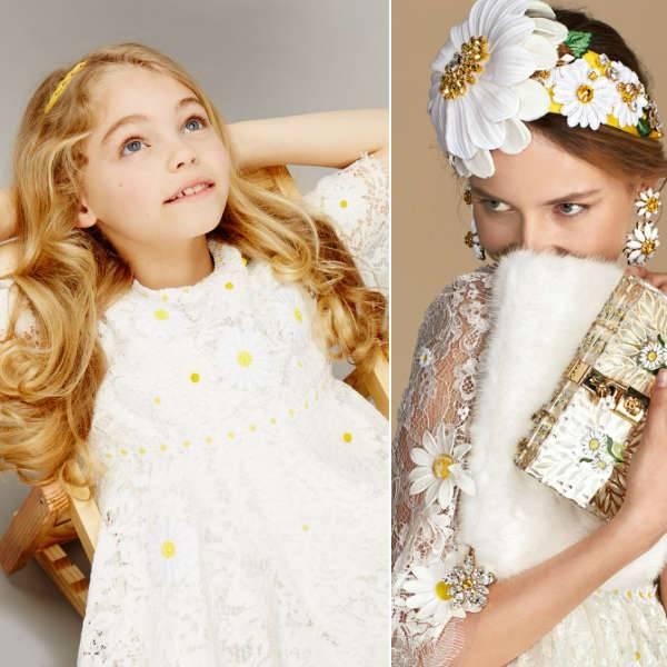 DOLCE & GABBANA GIRLS MINI ME WHITE & YELLOW LACE DAISY DRESS