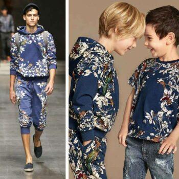 Dolce & Gabbana Boys Mini Me Blue Botanical Print Hooded Top & Pants
